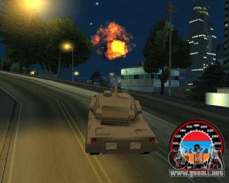 El velocímetro en el estilo de la bandera de arm para GTA San Andreas sucesivamente de pantalla