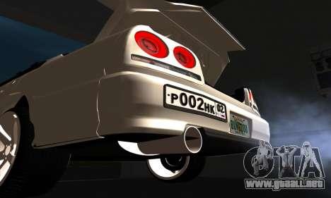 Nissan Skyline ER34 GT-R para visión interna GTA San Andreas