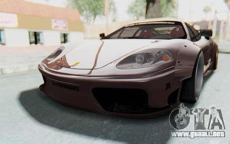 Ferrari 360 Modena Liberty Walk LB Perfomance v1 para GTA San Andreas vista hacia atrás