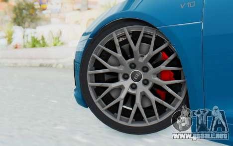Audi R8 V10 2017 v2.0 para GTA San Andreas vista posterior izquierda