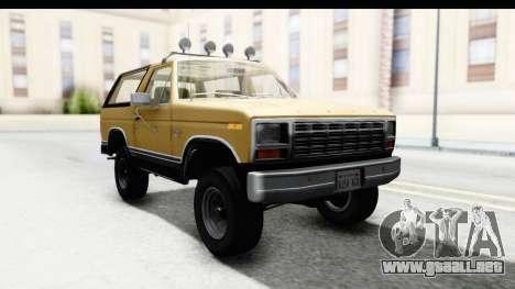 Ford Bronco 1980 IVF para GTA San Andreas vista posterior izquierda