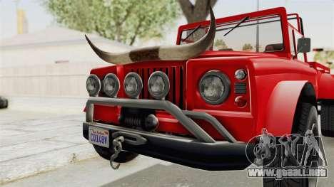 GTA 5 Canis Bodhi IVF para GTA San Andreas vista hacia atrás
