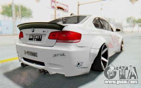 BMW M3 E92 Liberty Walk LB Performance para GTA San Andreas vista posterior izquierda