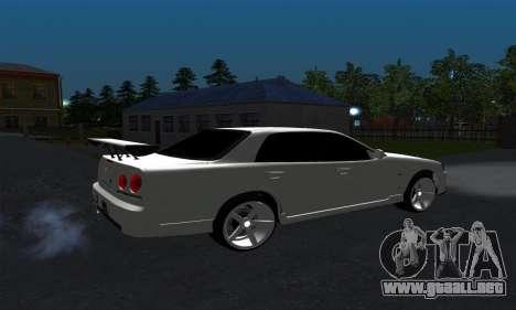 Nissan Skyline ER34 GT-R para GTA San Andreas vista posterior izquierda