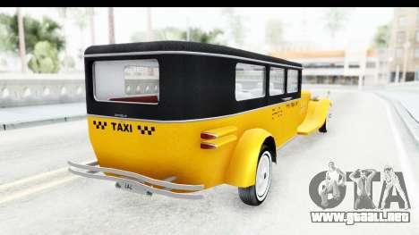 Unique V16 Fordor Taxi para la visión correcta GTA San Andreas