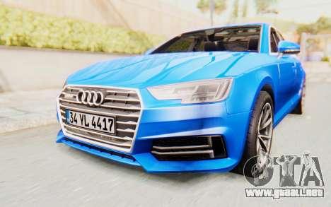 Audi A4 2017 HQLM para la visión correcta GTA San Andreas