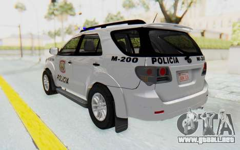 Toyota Fortuner 4WD 2015 Paraguay Police para GTA San Andreas left