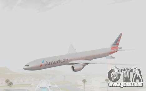 Boeing 777-300ER American Airlines N727AN para GTA San Andreas vista posterior izquierda