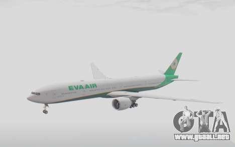 Boeing 777-300ER Eva Air v3 para GTA San Andreas vista posterior izquierda