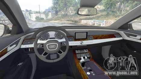 GTA 5 Audi A8 FSI 2010 delantero derecho vista lateral