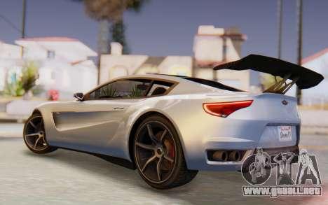 GTA 5 Dewbauchee Seven 70 SA Lights para GTA San Andreas vista posterior izquierda