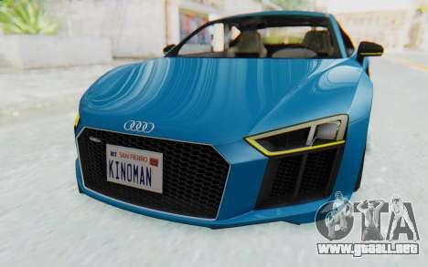 Audi R8 V10 2017 v2.0 para visión interna GTA San Andreas
