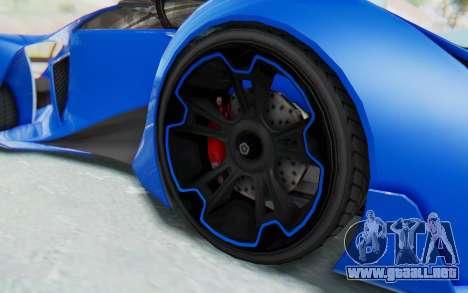 GTA 5 Grotti Prototipo v1 para GTA San Andreas vista hacia atrás