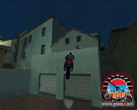 El velocímetro en el estilo de la bandera de arm para GTA San Andreas séptima pantalla