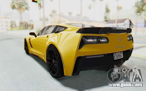 Chevrolet Corvette C7.R Z06 2015 para visión interna GTA San Andreas