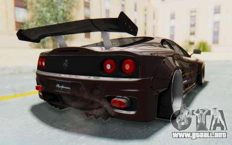 Ferrari 360 Modena Liberty Walk LB Perfomance v1 para la visión correcta GTA San Andreas