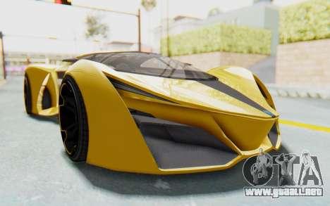 GTA 5 Grotti Prototipo v2 IVF para GTA San Andreas vista hacia atrás