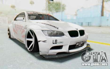 BMW M3 E92 Liberty Walk LB Performance para la visión correcta GTA San Andreas