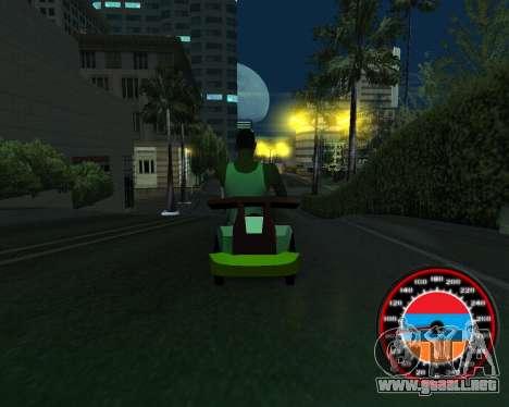 El velocímetro en el estilo de la bandera de arm para GTA San Andreas quinta pantalla