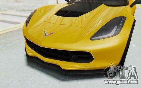 Chevrolet Corvette C7.R Z06 2015 para vista lateral GTA San Andreas
