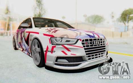 Audi S4 Avant Yurippe Angel Beats Itasha para GTA San Andreas vista hacia atrás