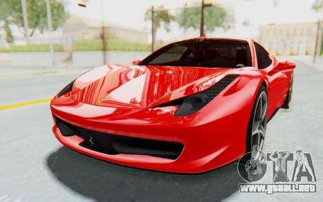 Ferrari 458 Italia F142 2010 para la visión correcta GTA San Andreas