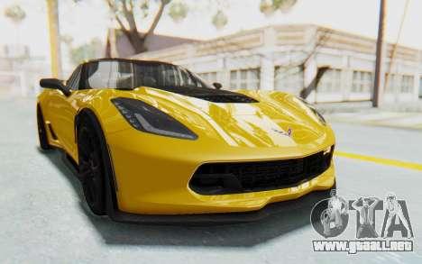 Chevrolet Corvette C7.R Z06 2015 para GTA San Andreas vista hacia atrás