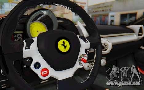 Ferrari 458 Italia F142 2010 para visión interna GTA San Andreas