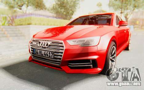 Audi A4 2017 IVF para GTA San Andreas vista posterior izquierda