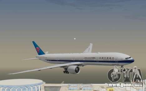 Boeing 777-300ER China Southern Airlines para GTA San Andreas vista posterior izquierda