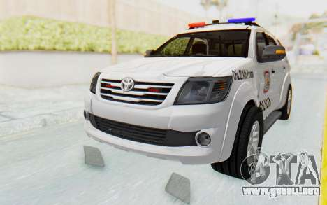Toyota Fortuner 4WD 2015 Paraguay Police para GTA San Andreas