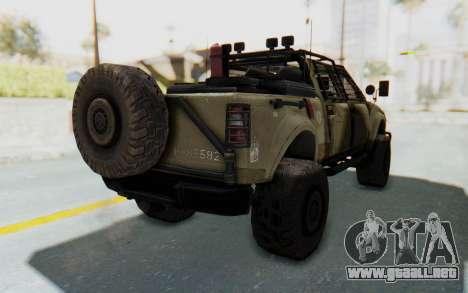 Toyota Hilux Technical Desert para GTA San Andreas vista posterior izquierda