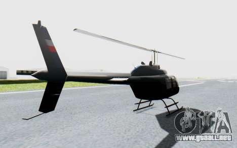 Bell 206B-III Jet Ranger Policja para GTA San Andreas vista posterior izquierda
