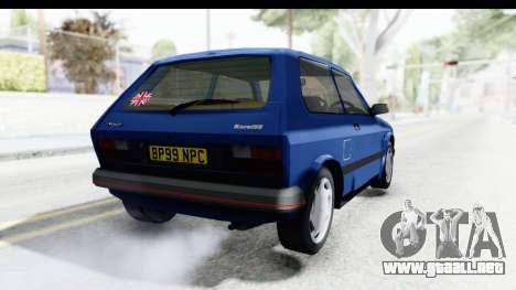 Zastava Yugo Koral UK para GTA San Andreas vista posterior izquierda