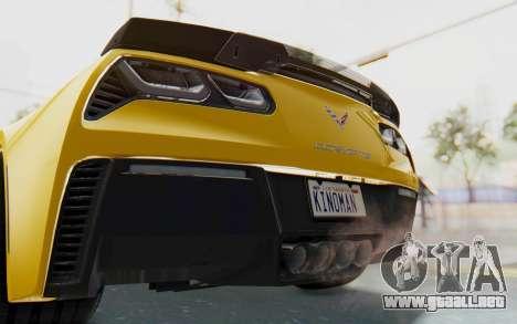 Chevrolet Corvette C7.R Z06 2015 para vista inferior GTA San Andreas