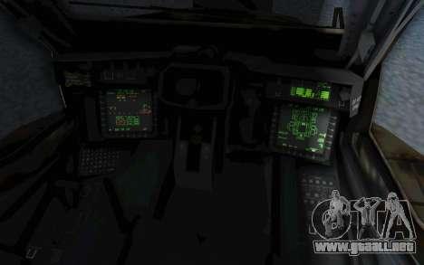 AH-64 Apache Leopard para visión interna GTA San Andreas