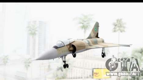Dassault Mirage 4000 Royal Saudi Air Force para GTA San Andreas vista posterior izquierda