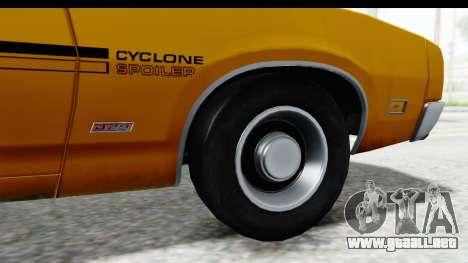 Mercury Cyclone Spoiler 1970 IVF para GTA San Andreas vista hacia atrás