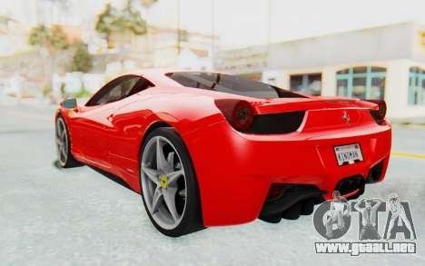 Ferrari 458 Italia F142 2010 para GTA San Andreas vista posterior izquierda