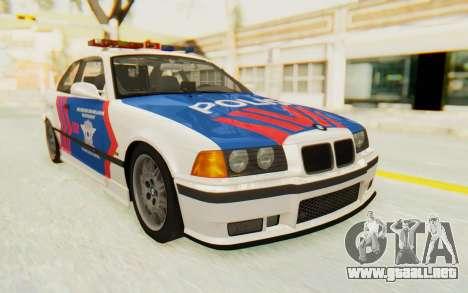 BMW M3 E36 Police Indonesia para GTA San Andreas vista posterior izquierda