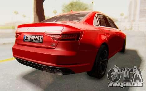 Audi A4 2017 IVF para la visión correcta GTA San Andreas