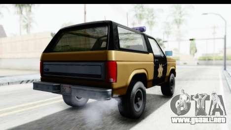 Ford Bronco 1982 Police IVF para GTA San Andreas vista posterior izquierda