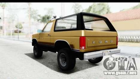 Ford Bronco 1980 IVF para la visión correcta GTA San Andreas