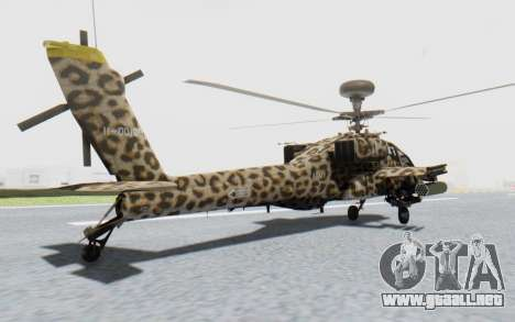 AH-64 Apache Leopard para GTA San Andreas left