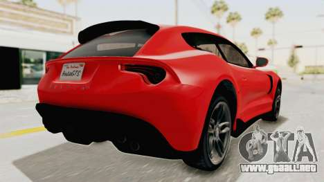 GTA 5 Grotti Bestia GTS v2 IVF para GTA San Andreas vista posterior izquierda