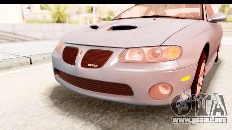 Pontiac GTO 2006 para la vista superior GTA San Andreas