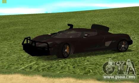 Koenigsegg Agera para GTA San Andreas vista hacia atrás