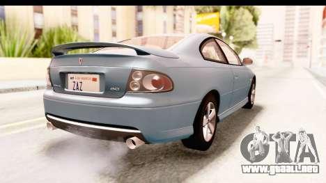 Pontiac GTO 2006 para GTA San Andreas left