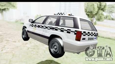 GTA 5 Canis Seminole Taxi Milspec para GTA San Andreas vista posterior izquierda