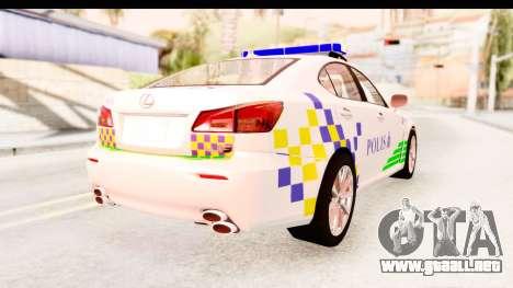 Lexus IS F PDRM para GTA San Andreas left